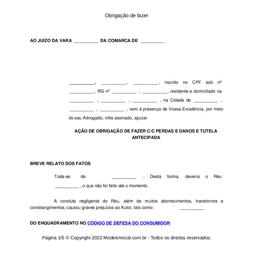 Modelo Ação De Obrigação De Fazer Com Antecipação De Tutela