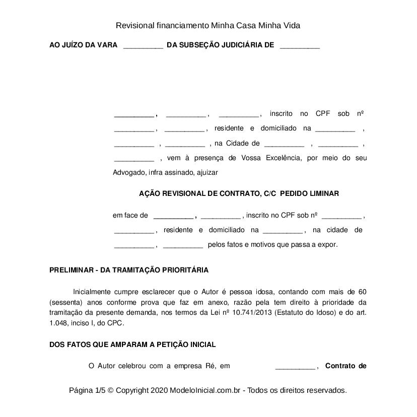 Modelo Ação Revisional De Contrato De Financiamento