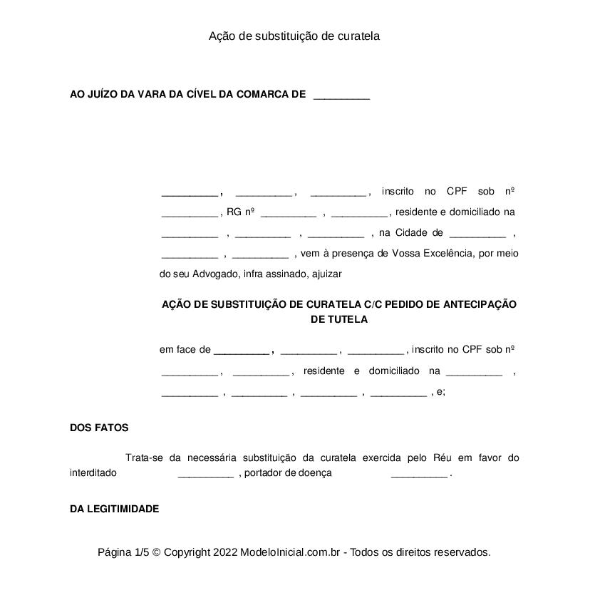 Modelo Ação De Substituição De Curatela