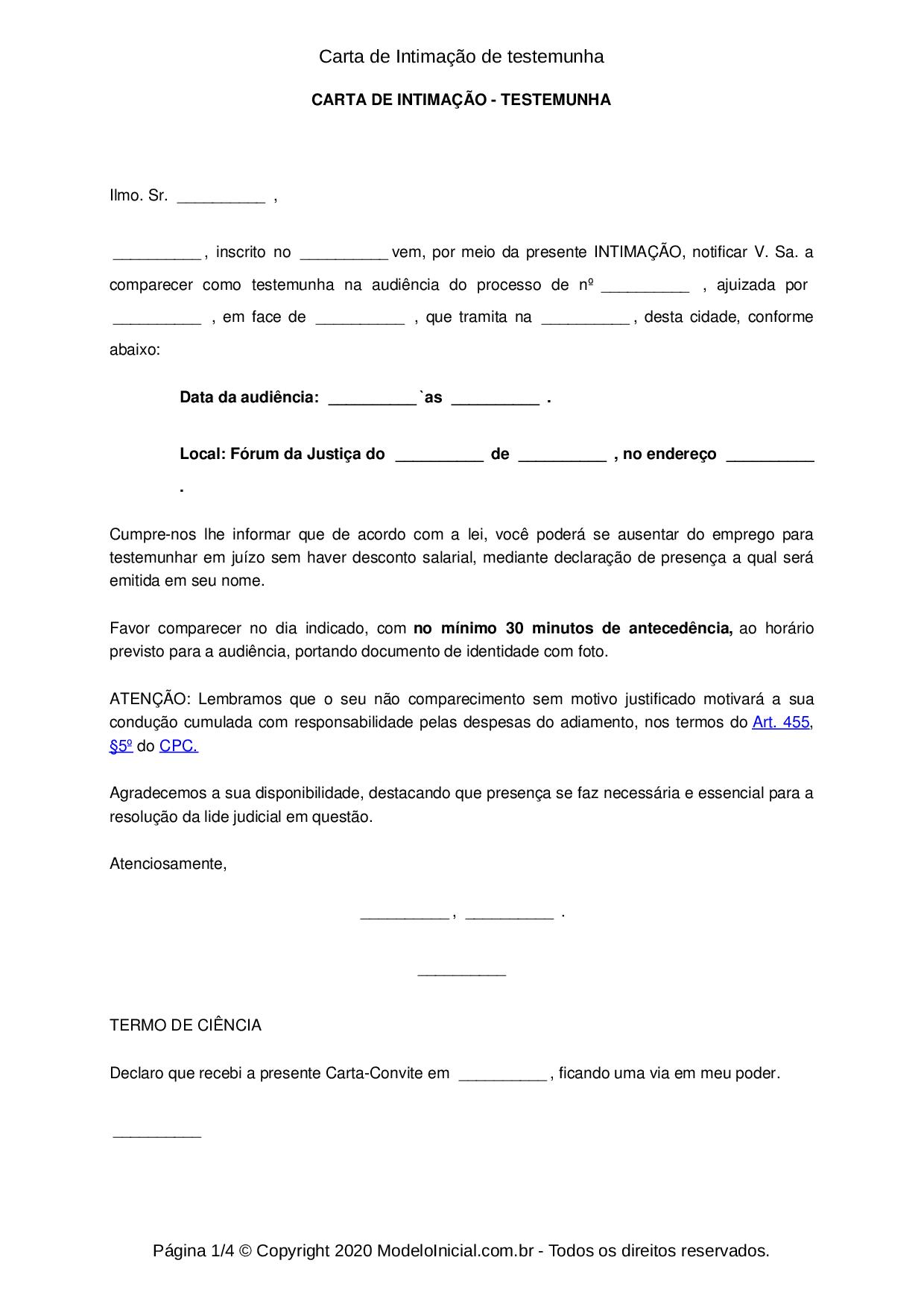 Modelo Carta Convite Para Comparecimento De Testemunha Em