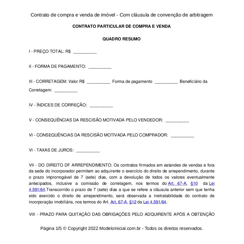 Modelo Contrato De Compra E Venda Com Cláusula De