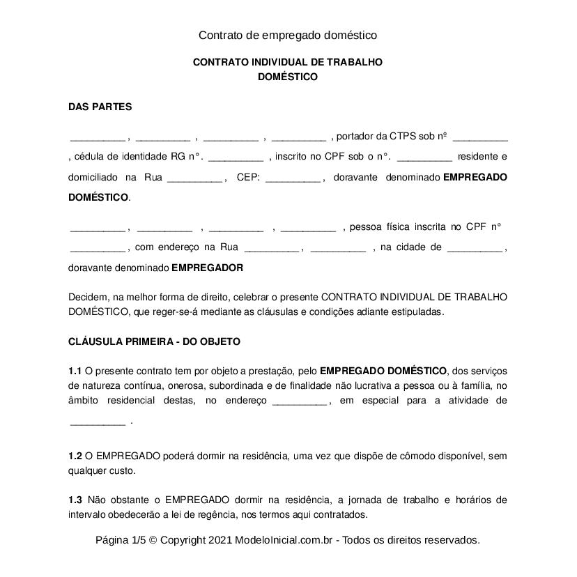 Modelo Contrato De Empregado Doméstico