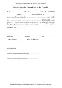 Modelo Declaração Do Proprietário Do Veículo Seguro Dpvat