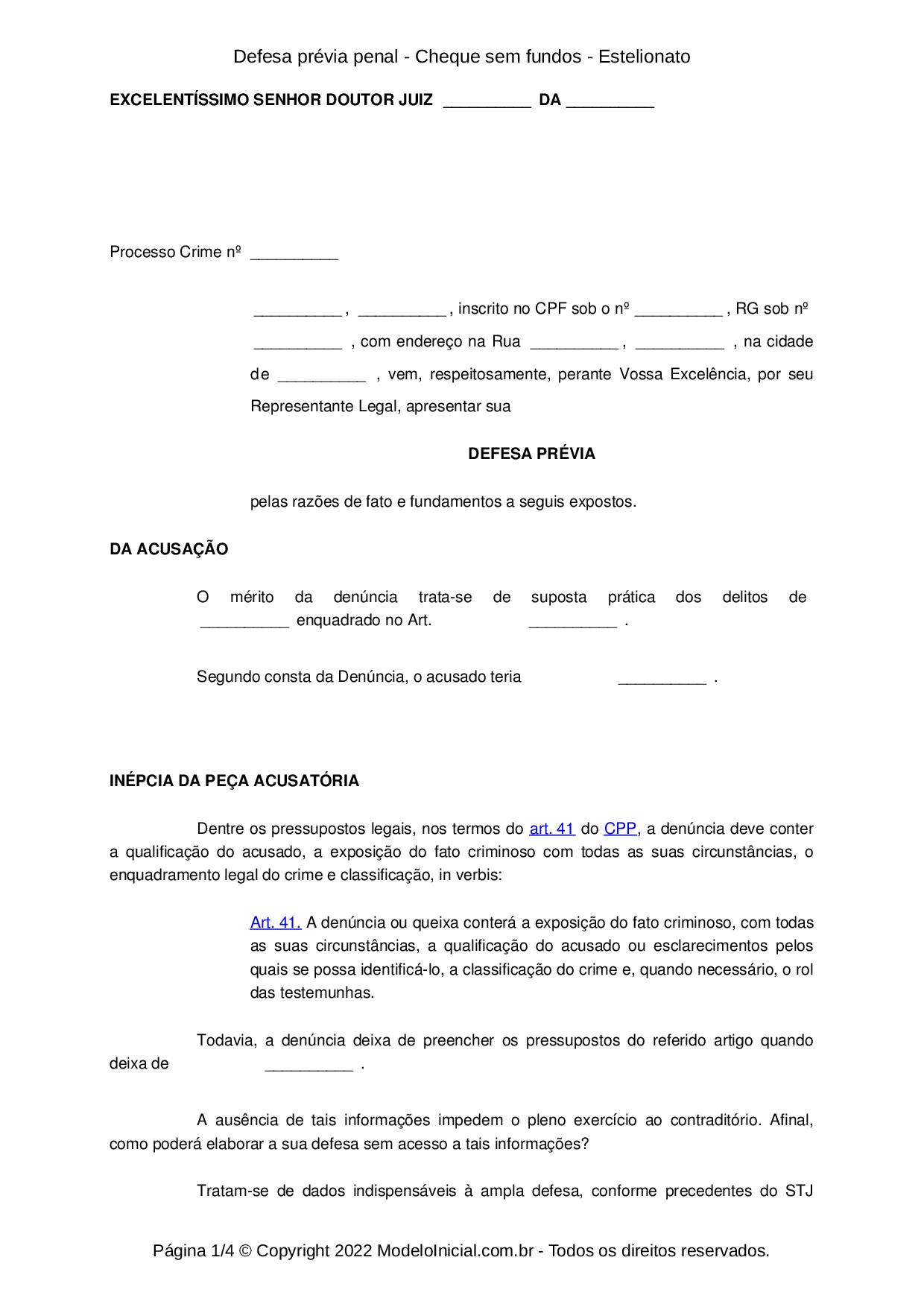 Modelo Defesa prévia penal - Cheque sem fundos - Estelionato