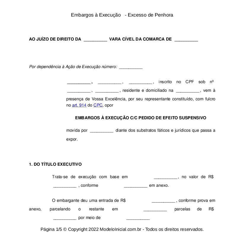 Modelo Embargos à Execução Excesso De Penhora