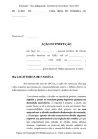 Modelo Execução Título Extrajudicial Contrato De Honorários