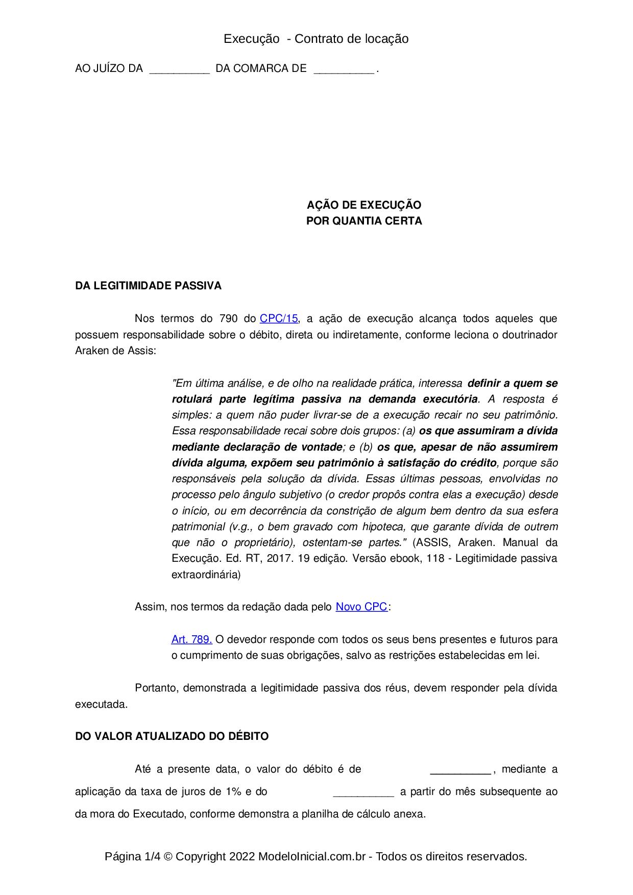 Modelo Execução Título Extrajudicial Contrato De Locação