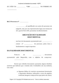 Modelo Incidente De Falsidade Documental Ncpc