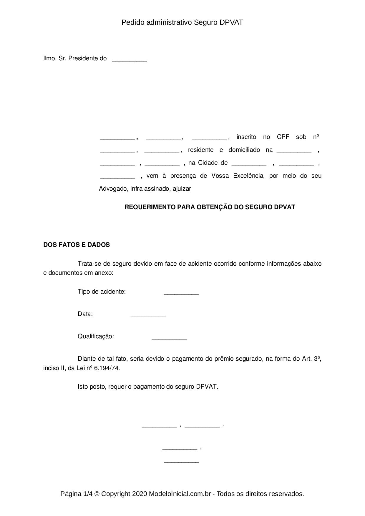 Modelo Pedido Administrativo Seguro Dpvat