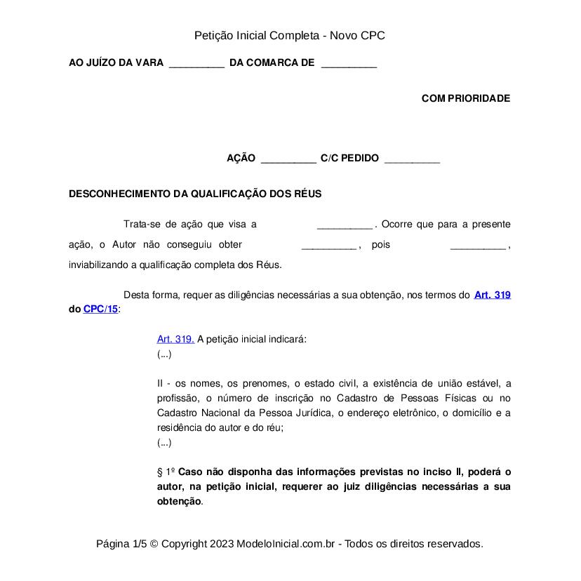 Modelo Petição Inicial Novo Cpc