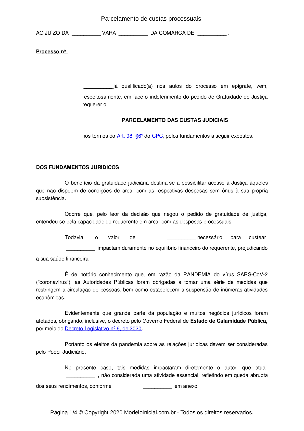 Modelo Petição De Parcelamento De Custas Processuais