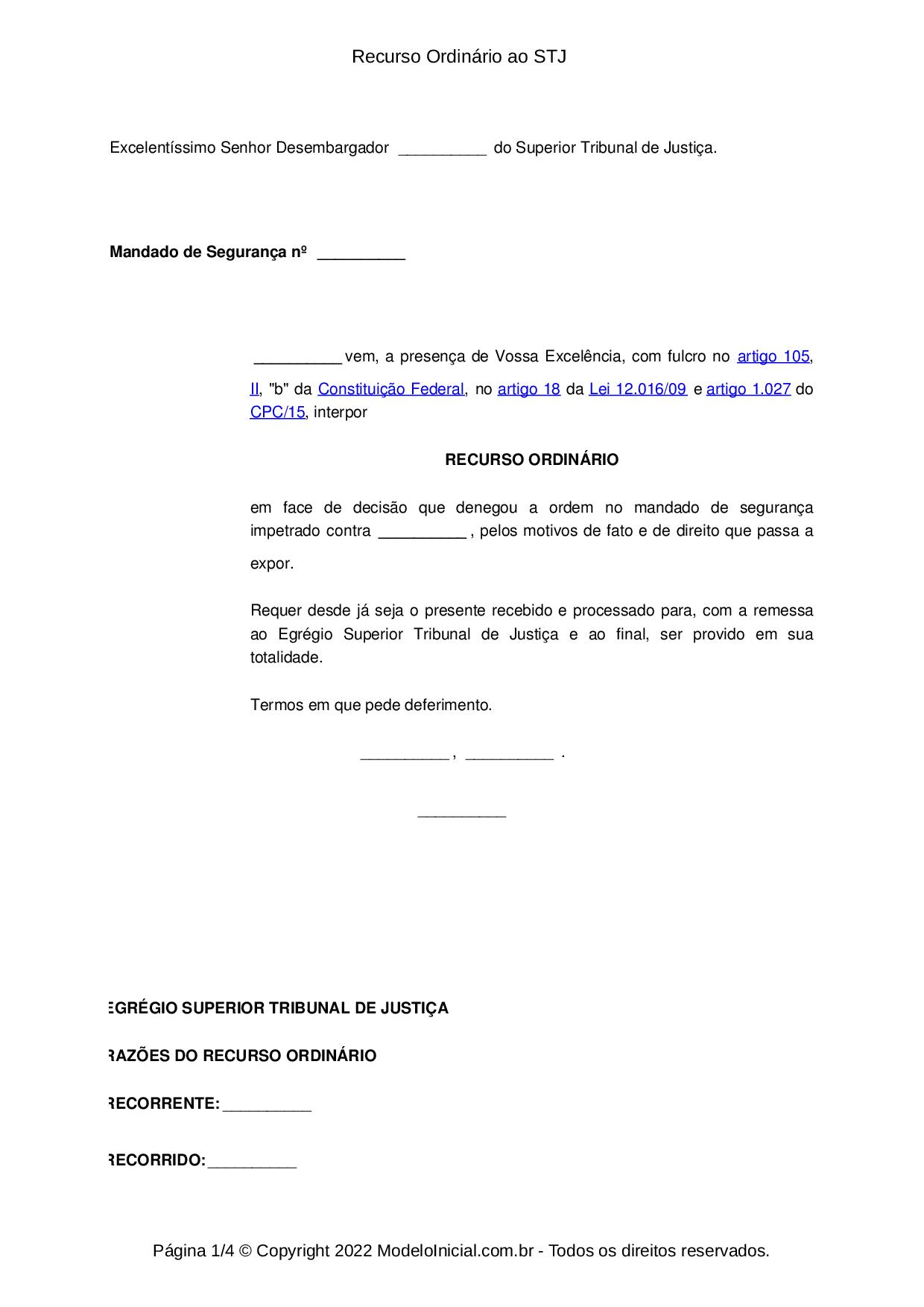 Modelo Recurso Ordinário Constitucional